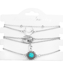Fashion Silver E Letter Moon Shell Inlaid Turquoise Flower Bracelet Five-piece