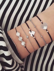 Fashion Silver Shell Love Bead Bracelet 5 Piece Set