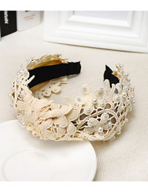 Fashion Cream Color Lace Embroidered Openwork Fabric Wide-brimmed Pearl Headband