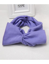 Fashion Purple Wide-brimmed Bow Knit Hair Band