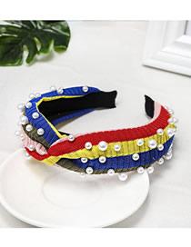 Fashion Yellow Rainbow Pearl Striped Knitted Woolen Headband