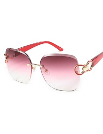 Fashion Red Frame Gray Red White Sunglasses