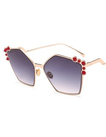 Fashion Gold Frame Gray Piece Embellished With Irregular Sunglasses