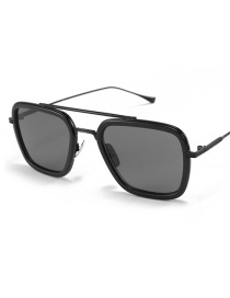 Fashion Black Frame Black Gray Piece Double Beam Large Frame Sunglasses