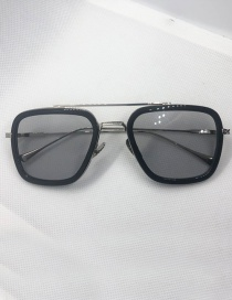 Fashion Silver Frame Gray Double Beam Large Frame Sunglasses