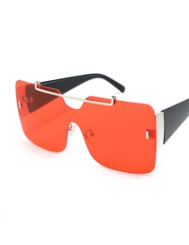 Fashion Red Square Large Framed Sunglasses