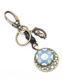 Fashion Bronze Alloy Hollow Five-pointed Star Symbol Doll Flower Glass Keychain