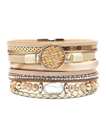 Fashion Beige Pearl-studded Multi-layer Leather Magnetic Buckle Bracelet