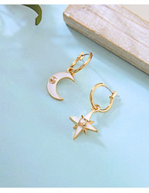 Fashion Gold Diamond Glazed Star-moon Asymmetrical Earrings