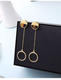 Fashion Gold S925 Silver Needle Geometric Acrylic Plate With Diamond Stud Earrings