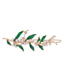 Fashion Hair Clip Drop Glazed Pearl Vine Brooch