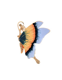 Fashion Blue Drop Glaze Butterfly Brooch