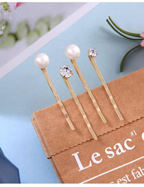Fashion Gold Word Pearl Diamond Hair Clip Set