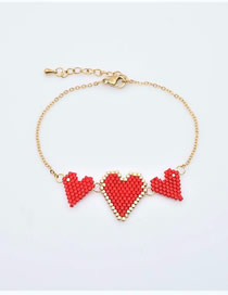 Fashion Red Beizhu Weaving Love Stainless Steel Color Protection Bracelet