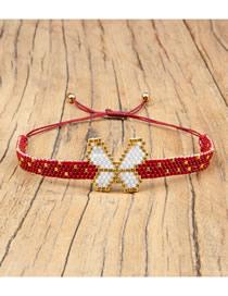 Fashion Red + White Love Millet Beads Woven Bracelet Set