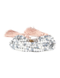 Fashion Fringed Pink Rice Beads Woven Bracelet