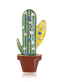 Fashion Green Alloy Drip Cactus Brooch