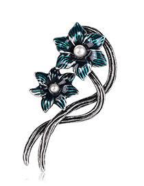 Fashion Blue Alloy Drip Flower Brooch