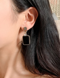 Fashion Black Alloy Geometric Earrings