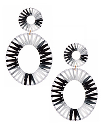 Fashion Black And White Oval Alloy Lafite Earrings