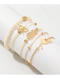 Fashion Gold Flamingo Pineapple Bracelet Set