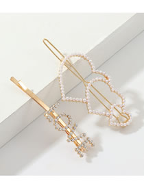 Fashion Gold Love Love Diamond Hair Clip