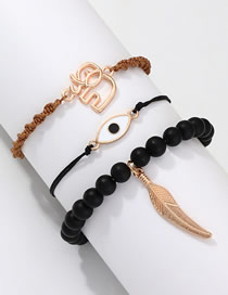 Fashion Gold + Black Bz0927 Wind Leaf Elephant Eye Bracelet Set