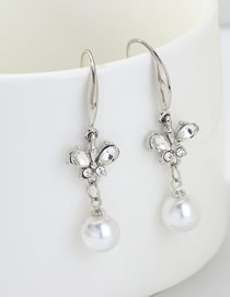 Fashion Silver Butterfly Pearl And Diamond Earrings