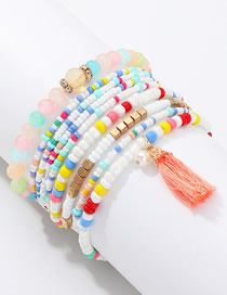 Fashion Color Mizhu Bracelet Natural Stone Tassel Bracelet Set
