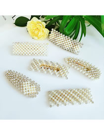 Fashion Combination Alloy Geometric Pearl Hairpin