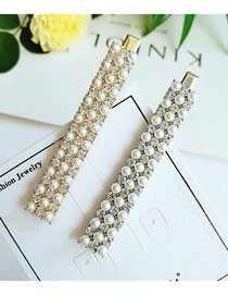 Fashion Combination Full Pearl And Diamond Hair Clip