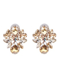 Fashion Gold Diamond Geometric Flower Earrings