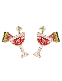 Fashion Red Wine Glass With Diamond Drink Cup Earrings