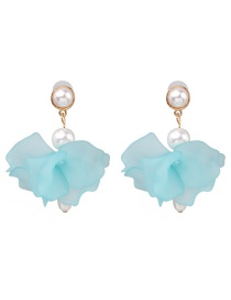 Fashion Blue Acrylic Flower Pearl Earrings
