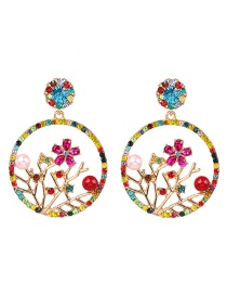 Fashion Color Alloy Openwork Branches Flower Earrings