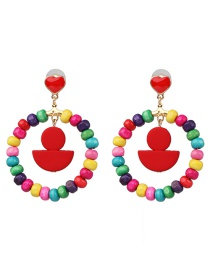 Fashion Round Color Wooden Colored Geometric Earrings