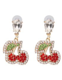 Fashion Red Fruit Full Of Diamond Stud Earrings