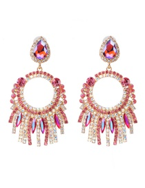 Fashion Powder Color Geometric Circle Fringed Stud Earrings