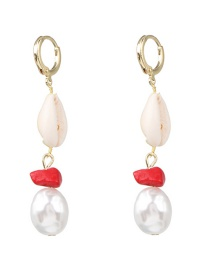 Fashion Gold Natural Shell Pearl Earrings