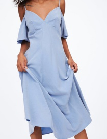 Fashion Light Blue Off-the-shoulder Strap Dress