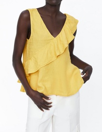 Fashion Yellow Laminated Linen Top