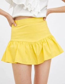 Fashion Yellow Laminated Short Skirt