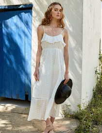 Fashion White Openwork Embroidered Sling Dress