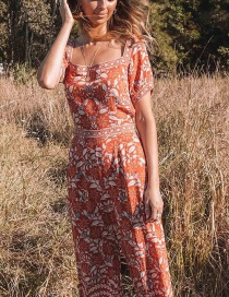 Fashion Orange White Orchid Print Jumpsuit