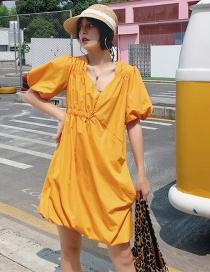 Fashion Yellow Asymmetric Elastic Puff Sleeve Dress