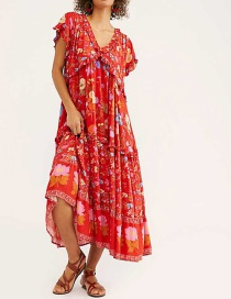 Fashion Red Floral Print Dress