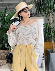Fashion Light Khaki One-shoulder Pleated Top