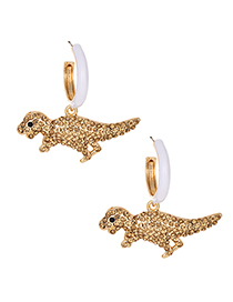 Fashion Champagne Alloy Diamond Dinosaur Earrings