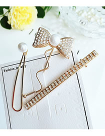 Fashion Yellow Three-piece Set Of Bow-studded Pearl Hair Clips