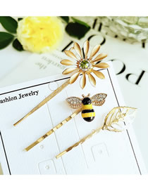 Fashion Gold Alloy Diamond Flower Bee Leaf Hairpin Combination